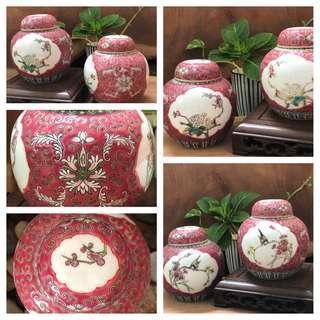 Rare vintage flower & bird hand painted tea canister