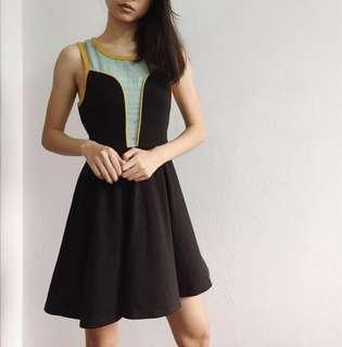 Mint Contrast Panelled Dress
