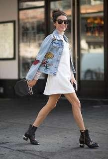LUCKY BRAND EMBROIDERED DISTRESSED DENIM JACKET