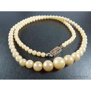 Vintage 1930s Art Deco Faux Pearl Beaded Necklace, nk577