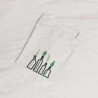 ulzzang white plant embroidery tee #caroupayzerofees