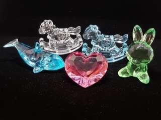 木馬,海豚,心,兔,塑膠水晶造型擺設