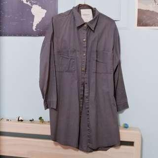 Queen shop 鐵灰色長版襯衫