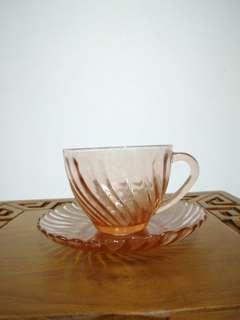 6 sets Glass saucer and cups