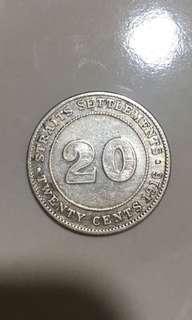 20cents 1916 Straits Settlements coins