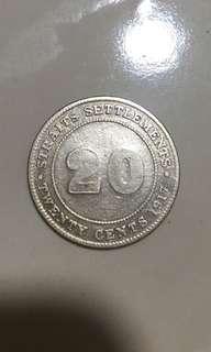 20 cents 1917 Straits Settlements coins