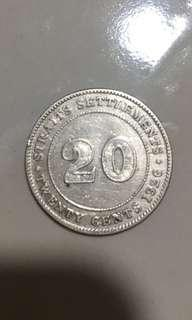 20 cents 1926 Straits Settlements coins