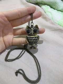Long Owl Necklace - Metal