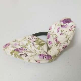 全新 紫色小碎花兔耳髮圈 髮飾 白色