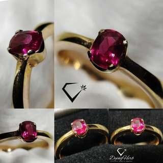 Natural Pinkish Red Mozambique Ruby Rose Gold Ring ( Cincin suasa delima asli)