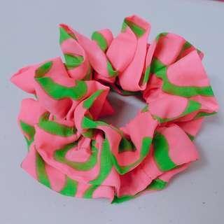 撞色美式髮圈 螢光粉紅 綠色
