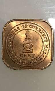 1940 Half cents Straits Settlements copper coins