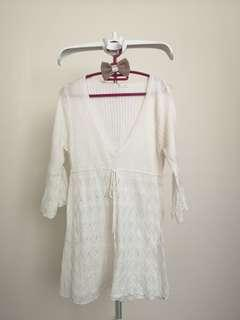 Knitted White Long Top