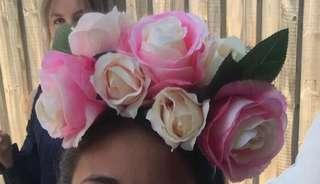 5 x Pink Flower Crown Headbands