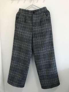 格仔紋薄絨褲