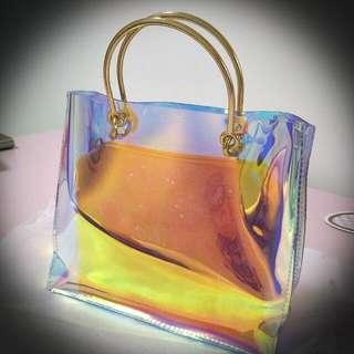 Holo Transparent Bag With Glitter Pouch