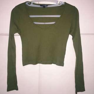 Topshop Green Long Sleeves Ribbed Crop Top