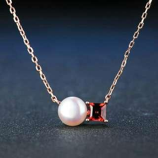 925 Pearl and Natural Garnet Necklace