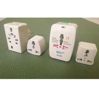 Assorted Travel adapters adaptors for international power sockets - 4 pieces
