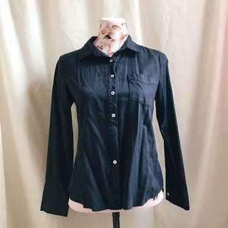 SM Woman's Navy Blue Long Sleeves Office Blouse