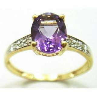 Natural Amethyst ring in 9k gold