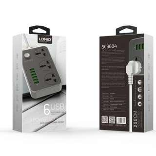READY STOCK- LDNIO SC3604 Power Strip 3 Universal Socket