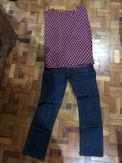 Set of Bossini denim jeans & straight cut sleeveless blouse