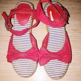 Red Bow Tie Espadrilles Wedge