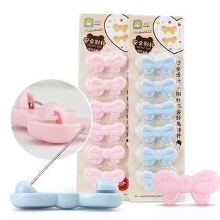 🚚 嬰兒安全別針 寶寶可愛別針 兒童孕婦兩用別針 蝴蝶結馬卡龍色別針