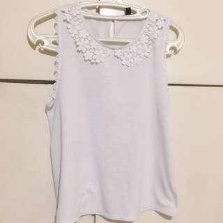 Topshop White Lace Collar Top