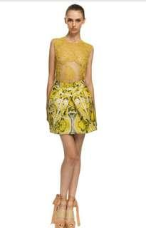 Vera Wang Yellow Ethnic Damask Faille Tulip Skirt In Chartreuse