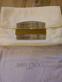 jimmy choo ivory with python leather clutch bag
