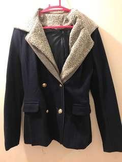 韓國 深藍色 女裝 外套 絨毛 兩著 輕鬆 返工 深藍色 灰色 易襯 made in Korea women navy jacket with grey two style simple elegant work easy to carry