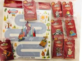 SHDL pins 上海迪士尼樂園徽章襟章 優獸大都會Zootopia car series set 全套10個連底板 Limited Edition Disney pins