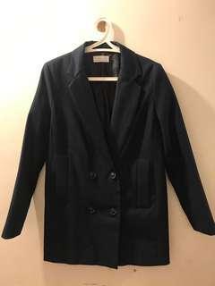 韓國 女裝 西裝外套 深藍色 長身 孖襟 made in Korea women suit jacket double layer button navy long jacket work elegant simple
