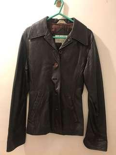 Leather Jacket women slim deep brown colour 女裝 皮褸 深啡色 型格 長袖 long sleeve 修身 made in Italy 意大利製 vintage 古著