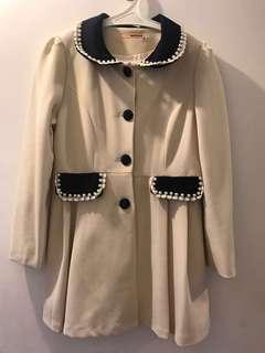 [已減價 price reduced]Midi coat 中長外套 秋天款 pearl 少女風 girlish sweet 褸 beige 米白色 navy 深藍領口