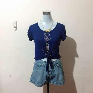 WORKSHOP Navy Blue Cropped Shirt