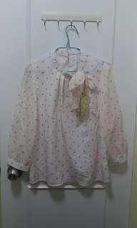 $30全新粉色波點長袖衫