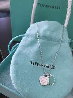 Tiffany & Co. Return to Tiffany blue double mini heart pendant 16 inches necklace