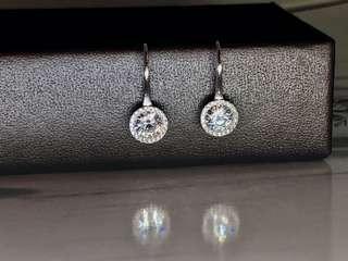 Cubic Zirconia Halo Hook Earrings in Silver 925