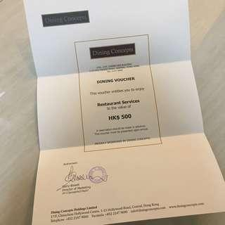 Dining Concept $500 Cash Coupon