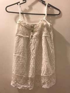 Lace white top 白色 蕾絲通花 上衣 yellow 黃色