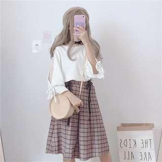 [NEW] Soft Checkered Mid Length Skirt