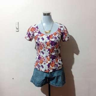 H&M Floral Buttondown Blouse