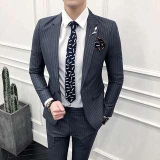 Gray Pinstripes Two-Piece Suit