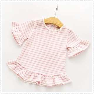 *Clearance Offer* Pink Stripey Blouse with Bell Ruffles Sleeve