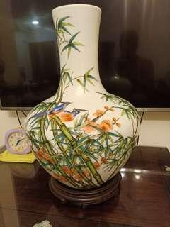 Porcelain famille rose Vase birds with flowers bamboo