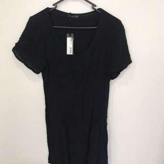 Black button up swing dress