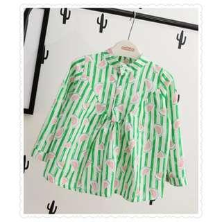 *Clearance Offer* Watermelon printed long sleeve blouse with button collar